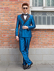 Black&Blue Solid Slim Fit Tuxedo In Polyester