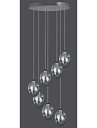 7 Lamp Glass Pendant Light Modern Contemporary