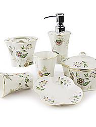 baño de juego de accesorios, productos de baño de cerámica mediterránea Conjunto 5 piezas