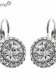 Lureme®Elegant Rhinestone Circle Pendant Hook Shaped Earrings