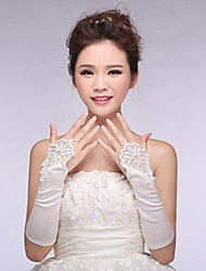 Elastic Satin Elbow Fingless Wedding Gloves with Applique  ASG4