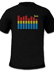 Tee-shirts LED Lampes LED activées par le son Tissu S M L XL XXL Nouveauté Noir 2 Piles AAA