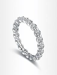europeu de zircão intervalo de prata banhado a anéis de instrução das mulheres (1 pc)