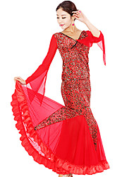 Ballroom Dance Outfits Women's Elastic Woven Satin / Lace Black / Red Modern Dance / Ballroom