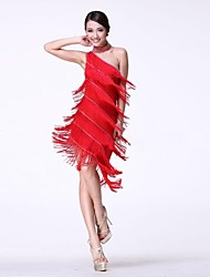 латинский танец женской одно плечо производительность кисточкой платье с браслетом&шея кольцо (больше цветов)