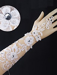 Knit Lace Elbow Length Fingerless Wedding Gloves with Colorful Rhinestone ASG47