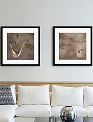 Framed Art Print, People Clrd And Branches by Tanya Hovey Set of 2