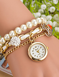 Wanbao Women's Fashion Pearl Pendant Bracelet Watch