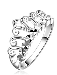 Fashion Crown Simple Silver Plated Copper Foreign Trade Zircon Ring(Silver)(1Pc)
