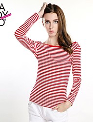 raya roja y blanca de la mujer haoduoyi® delgado equipado espalda u sin respaldo blusa de manga larga