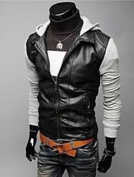IAA мужская красивый отдых тонкий кожаный PU сращивания пальто