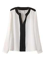 vrouwen chiffon contrast v hals lange mouw blouse