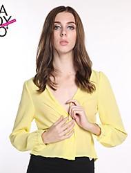 v cuello diseño plegable luz cintura delgada gasa blusa amarilla de la mujer haoduoyi®