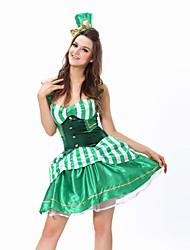 Costumes de Cosplay / Costume de Soirée Burlesques/Clown Fête / Célébration Déguisement Halloween Vert Mosaïque Robe / Strings / Chapeau