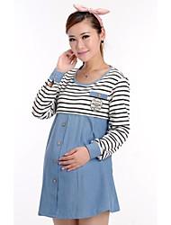 Mode Stripe la correspondance de maternité robe longue à manches