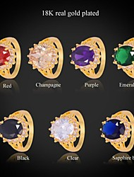 U7® New Trendy Fashion Rings 18K Real Gold Plated 7 Colors AAA+ Cubic Zironia Engagement Band Ring For WomenImitation Diamond Birthstone