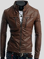 ZIMO Men's Double Zipper Collar Locomotive Spring Leather Jacket