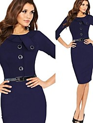 Women's Dresses , Cotton Blend Sexy/Bodycon/Party ¾ Sleeve VICONE