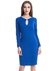 Women's Work Bodycon Dress,Solid Halter Midi Long Sleeve Blue / Red / Black / Green Polyester / Spandex Spring / Fall / Winter