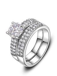 Unisex Fashion Platinum Wide Double Row of Zircon Copper Statement Rings(1 Pc)