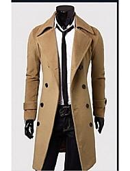 Johnny hombres de cuello solapa de la moda de manga larga delgada capa