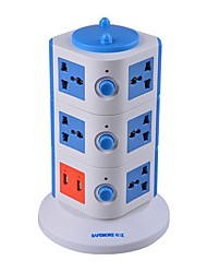 Overload Protector 5V/2.1A 3 Floor with 11 Universal Outlets and 2 USB  EU Adapter Power Strips