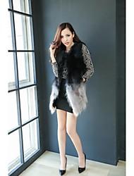 chaleco de piel de mapache gradiente de abrigos de piel de la mujer (gris)
