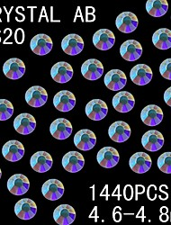 1440Pcs 4.6-4.8mm AB Color Glitter Flatback Crystal Rhinestone Nail Art Decoration