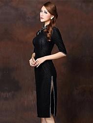 haut de gamme de conception tartan robe de velours chinois des femmes