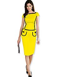 do vintage colar patchwork quadrado de algodão casuais amarelo manga curta vestidos midi lápis de mulheres