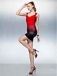 Vestido - Multi-Côr Tubo/Coluna Decote em V Mini Seda