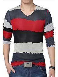 Men's V-Neck Long Sleeved Spell Color Breathable Mesh T-Shirt
