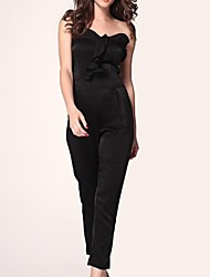 sexy ruffle embelezado strapless jumpsuit das mulheres
