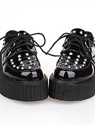 PU de cuero zapatos de 5cm lolita punky plataforma negro