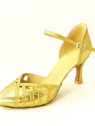 Customized Elegant Women's Leatherette Ankle Strap With Buckle Latin / Ballroom Dance Shoes