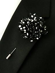main pois noirs des hommes polyester fleurs de revers boutonnière