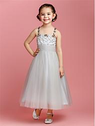 A-line/Princess Ankle-length Flower Girl Dress - Tulle Sleeveless
