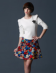 jaja-dlami cintura alta falda patrón de la impresión de las mujeres