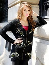 MiShow®Women's V-neck Bike Embroidered Design Even the Shoulder Sleeve Plus Size Loose Sweater