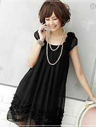 Maternity Flower Chiffon Black Dress