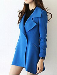 Women's Trench Coat,Solid Long Sleeve Fall / Winter Blue / Black Polyester Medium