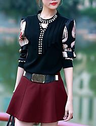 cocozhou camiseta cor de contraste cabido das mulheres