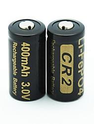 3v перезаряжаемые 400mAh 15266 LiFePO4 батарея (2шт)