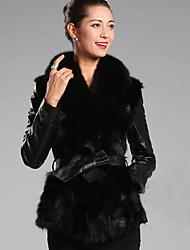 Sergent Women's Elegant Faux Fur&Pu Coat