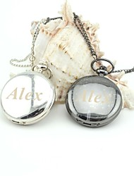 Personalized Retro Smooth Pocket Watch  Enamel Metal Lanyards