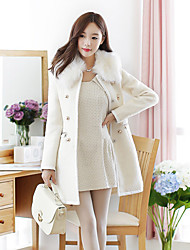 Women's Trench Coat with Detachable Faux Fur Collar