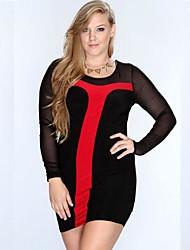 Women's Party/Cocktail Plus Size Plus Size Dress,Patchwork U Neck Mini Long Sleeve Blue / Black Polyester / Spandex All Seasons