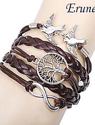 eruner® multicouche alliage oiseaux d'amour la vie arbre et l'infini à la main bracelet en cuir pour femmes