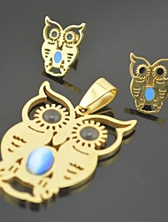 Toonykelly Fashionable  Stainless Steel Owl with Enamel(Pandeant with Earring Stud)Jewelry Set