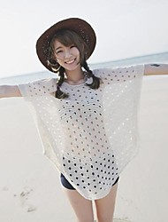 Women's Knitted Beach White Blouse, Beach Clothes